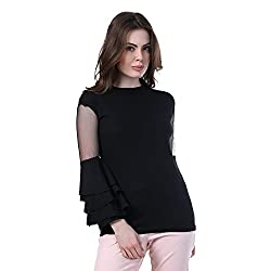 DIMPY GARMENTS Bell Sleeve Crepe Top for Women