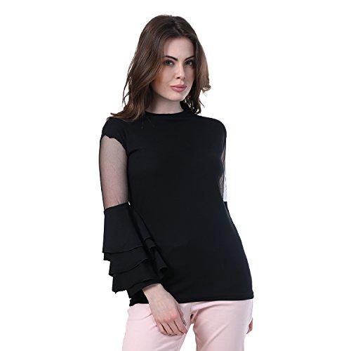 DIMPY GARMENTS Black Bell Sleeve Crepe Frill Top for Women (Black-Medium Size)