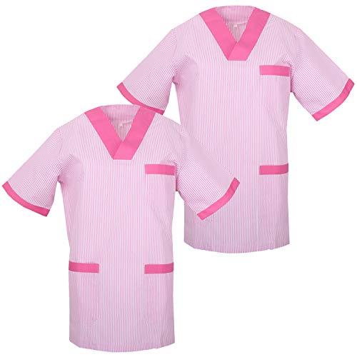 MISEMIYA - Pack*2 - Camisa Camisetas Unisex Uniformes LABORARES ESTÉTICA Dentista - Ref:T817 - XS, Fucsia