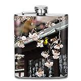 Newsletter Peach Blossom Fashion Botella de whisky portátil de acero inoxidable para hombres y mujeres de 8 oz