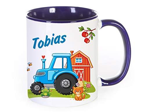 Werbetreff Gera Tasse Motiv: Traktor blau individuell mit Name, Keramiktasse für Kinder, Jungs, Bauernhof, Landwirt, Geschenkidee zum Geburtstag, Schulanfang, Schulstart, Kita