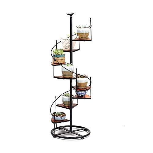 KSWD Metal Soporte de Planta Escalera de Caracol Soporte de exhibición Soporte de Flores de Interior Estante de decoración de jardín de 8 niveles-23x56cm A