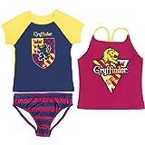 Harry Potter Gryffindor Big Girls Short Sleeve Rash Guard Tankini Top and Swim Bottom 10-12