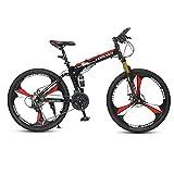 DSAQAO Folding Mountain Bike,26 Pulgadas Suspensión Completa MTB Bicicletas 24 27 Velocidad 3 Spoke Disc Bicicleta para Adultos Adolescentes Estudiante Rojo+Negro 24 Velocidades