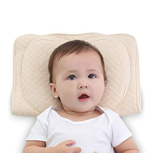 XMWEALTHY Baby Soft Flat Head Shaping Pillows for Newborns Sleeping Memory Latex Support Nursing Pillows Crib Pillows Best Gifts for Baby Girls Boys 0-12M(Khaki)