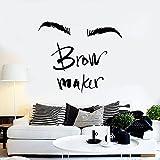 WERWN Máquina de Cejas Tatuajes de Pared Maquillaje Maestro de Cejas salón de Belleza decoración de Interiores Pegatinas de Vinilo para Ventanas Palabra Arte Letras Mural
