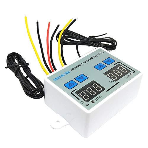 SODIAL Termostato Digital Dual Controlador de Temperatura Termorregulador de Salida de Dos ReléS para Incubadora CalefaccióN RefrigeracióN XK-W1088 110V-220V