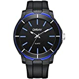 DIRAY Men Analog Quartz Watch Round Dial Mineral Lens and Soft Band Stainless Steel Buckle(Blue)