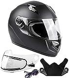 Typhoon Helmets Adult Full Face Snowmobile Helmet With Heated Shield DOT (Matte Black, Large)