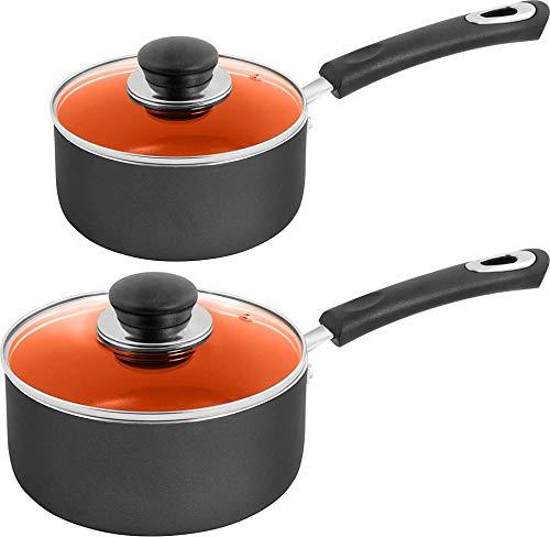 Utopia Kitchen Nonstick Saucepan Set - 1 Quart and 2 Quart - Glass Lid - Multipurpose Use for Home Kitchen or Restaurant (Ceramic-Copper)