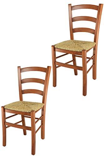 Tommychairs - 2er Set Stühle Venice für Küche und Esszimmer, robuste Struktur aus lackiertem Buchenholz im Farbton Kirschholz und Sitzfläche aus Stroh