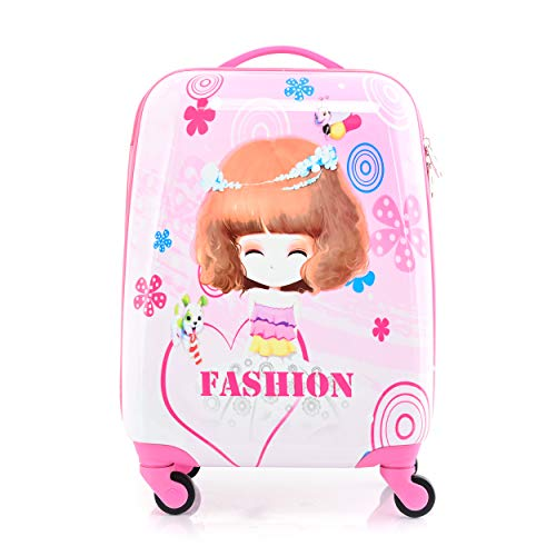 BONTOUR Valigia Per Bambini Bagaglio a Mano trolley bambina con Ruote Girevoli a 360 ° (Fashion Girl)