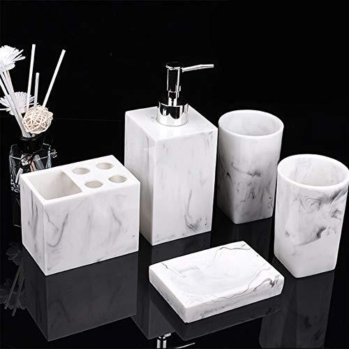 ZHNINGUR Resina de Accesorios de baño de Enjuague bucal Copa de jabón Cepillo de Dientes Titular Champú Botella de Hogares Set de Lavado (Color : Blanco, Size : Gratis)