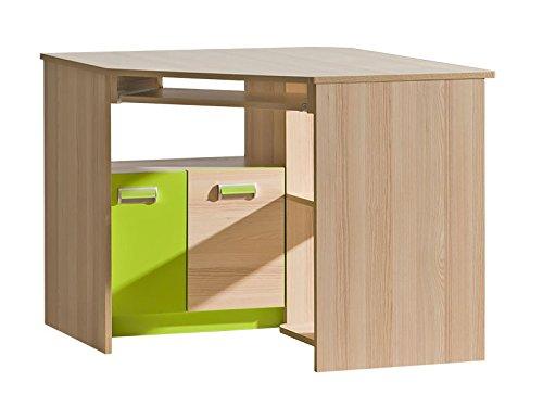 SMARTBett GmbH Eckcomputertisch Limo Esche Natur/Grün