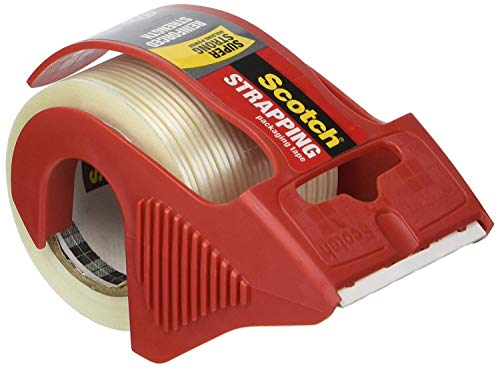 Scotch MMM50 Reinforced Strength Shipping and Strapping Tape in Dispenser, Red, 3 Pack