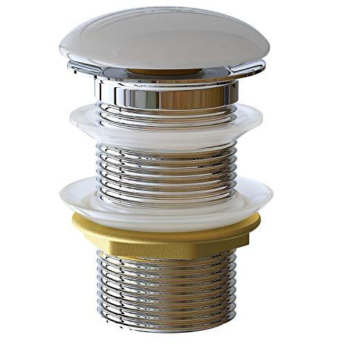 Waschbecken24 Universal Ablaufgarnitur Ablaufventil Pop Up Ventil für Waschbecken oder Waschtisch ohne Überlauf mit Keramikdeckel P2K