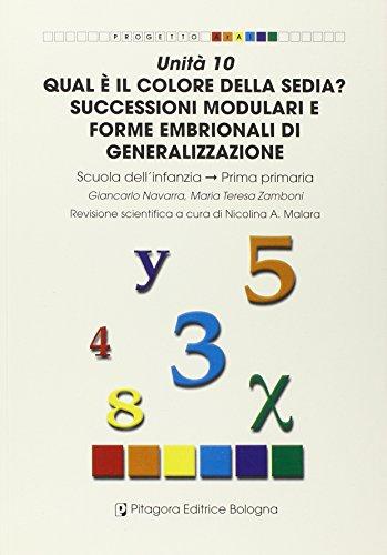 Unità 10. Qual è il colore della sedia? Successioni modulari e forme embrionali di generalizzazioni. Scuola dell'infanzia (Progetto Aral)