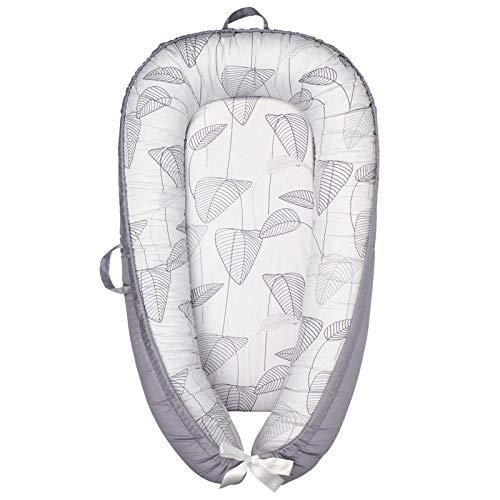 ABREEZE Babynest Baby-Liege für Neugeborene, atmungsaktiv, Baumwolle, für Kinderbett, Stubenwagen, maschinenwaschbar, Kissen, tragbar, für Schlafzimmer/Reisen (graues Blatt)