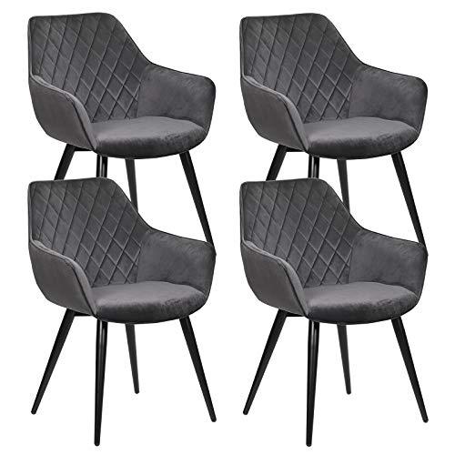 WOLTU Esszimmerstühle BH153dgr-4 4er Set Küchenstühle Wohnzimmerstuhl Polsterstuhl Design Stuhl mit Armlehne Dunkelgrau Gestell aus Stahl Samt