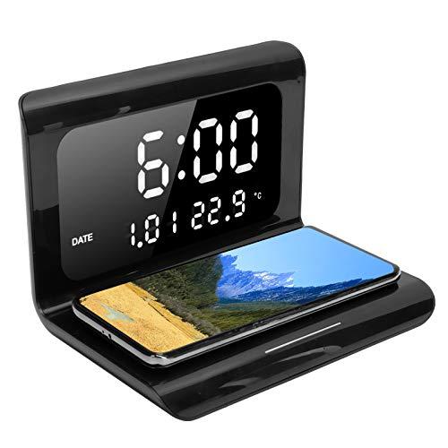 Fdit Cargador inalámbrico de Reloj, multifunción, Calendario electrónico, Reloj, Cargador inalámbrico para teléfono, Cargador inalámbrico de Carga rápida QI con reconocimiento Inteligente(Negro)