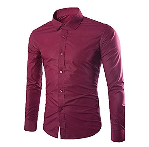 WSLCN Hommes Chemise d'affaires Classique Manches Longues Loisir Chemise Col Boutonné Couleur Pleine (sans Cravate) Burgundy S