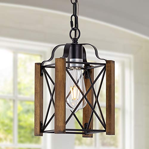 1-Light Wood Pendant Light, Adjust Height Farmhouse Chandelier Light Fixture, Rustic Pendant Lighting for Kitchen Island, Bedroom, Dining Room and Entryway