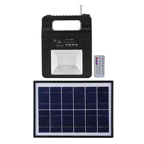 Generador solar Batería de respaldo de emergencia portátil con altavoz FM Cargador USB Bombilla de panel solar, Generador solar Energía de emergencia Solar