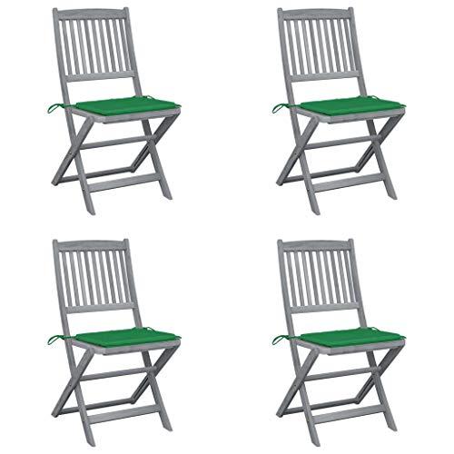 vidaXL 4X Akazienholz Massiv Gartenstuhl Klappbar mit Kissen ohne Armlehnen Klappstuhl Essstuhl Stuhl Stühle Holzstuhl Gartenstühle Holzstühle