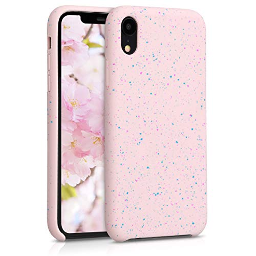 kwmobile TPU Silicone Case Compatible with Apple iPhone XR - Flexible Cover with Camera Protection - Paint Splatter Dark Pink/Blue/Dusty Pink