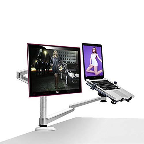 QZMVER Soporte de monitor con brazo para portátil, totalmente ajustable para pantalla LCD LED de 32 pulgadas y portátil de 10 a 15,6 pulgadas, 2 opciones de montaje