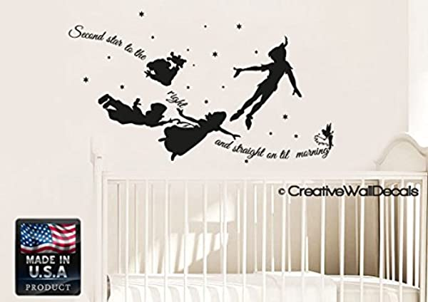 CreativeWallDecals Wall Decal Vinyl Sticker Decals Art Decor Design Bedroom Nursery Kids Children Peter Pan Moon Stars Second Star Quote Book Night R1385