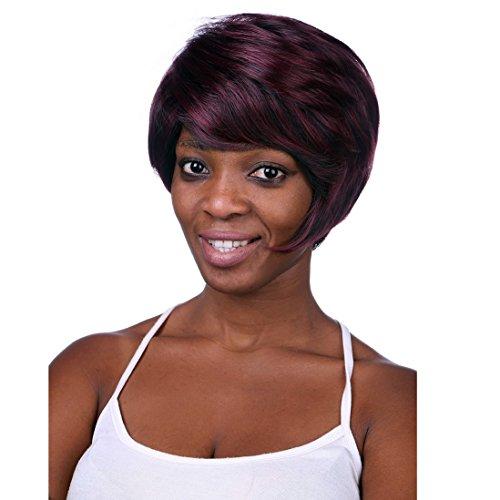 A.Monamour Vin Stratifié Mélange Noir Style De Cheveux De Mode Droite Rouge Synthétique Perruque Des Femmes