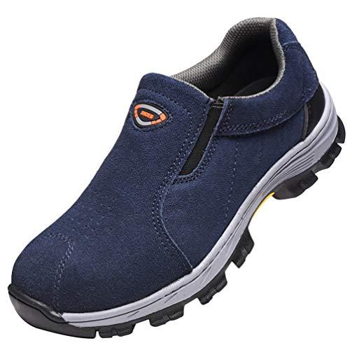 YiLianDaD Zapatillas de Seguridad Hombre Zapatos con Punta de Acero Calzado de Trabajo Comodos y Ligeros Transpirables Azul