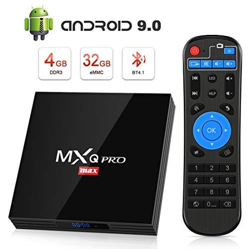 Android TV Box 9.0, Superpow MXQ PRO MAX S RK3328 Smart TV Box Quad Core, BT 4.1 4K UHD 3D H.265 HDMI USB 3.0 USB 2.0, Android Set-Top Box (4GB RAM+32GB ROM)