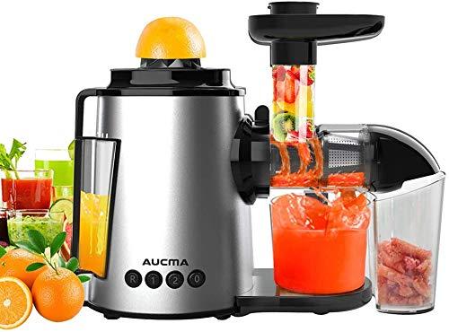 AUCMA Entsafter Slow Juicer Leistungsstarker Entsafter für Obst und Gemüse Kältepresse für Sellerie, Ruhiger Motor & Umkehrfunktion & 2 Geschwindigkeiten & Reinigungsbürste(150 Watt/Silber)