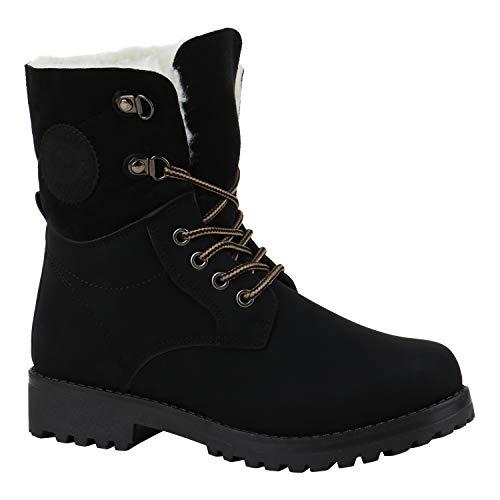 Warm Gefütterte Damen Stiefeletten Worker Boots Kunstfell Schuhe Schwarz Black 39 Flandell