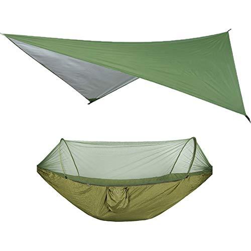 YZZ Juego de Hamaca de Camping al Aire Libre Mochilero con Bolsa de Almacenamiento SUNSHIELD SISTING Tienda Tienda de toldos automático Cinturón de toldos Abierto Mosquitero Net (Color : Green)