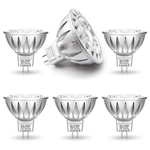ALIDE MR16 Led Bulbs GU5.3 7W 6000K Daylight Cool Bright White,50W-75W Halogen Equivalent,12V MR16 Bulb Spotlight for Kitchen Home Track Ceil Recessed Accent Lighting,Not Dimmable,38 Deg,6 Pack