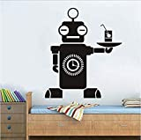 Robot Attendant Art Vinyl Wall Sticker Intelligence Camarero Para Habitaciones...