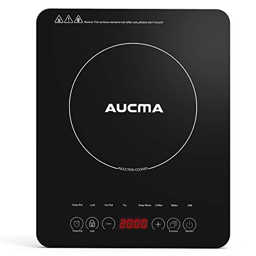 AUCMA Induktionskochplatte, 2000 W Schlankes einzel-induktionskochfeld,10 Leistungsstufen,10 Temperatureinstellungen, Sensor-Touch-Steuerung,Sicherheitsverriegelung,3-Stunden-Timer, Schwarz