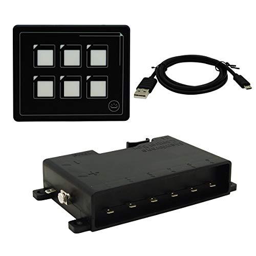 Panel de interruptor LED de pantalla táctil de 12 V, 24 V, 6 pines, PPTC integrado, cable USB y caja de control de membrana IP66 para camión, caravana, caravana, yate, marino