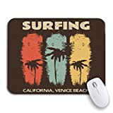 ECOMAOMI 可愛いマウスパッド サーフィンとベニスビーチでのサーフィンカリフォルニアヴィンテージノンスリップゴムバッキングコンピューターマウスパッド(ノートブックマウスマット用)