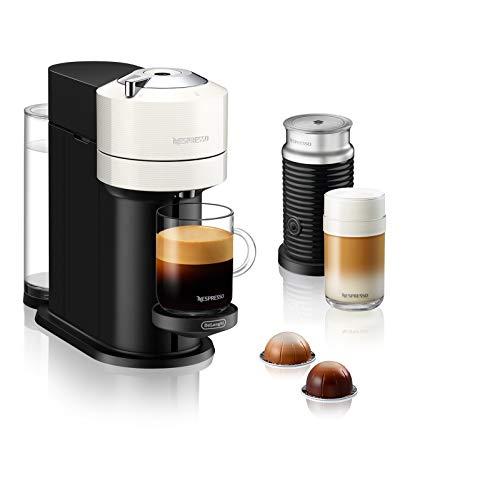 De'Longhi Nespresso Vertuo Next ENV 120.WAE Kaffeekapselmaschine mit Aeroccino Milchaufschäumer, weiß
