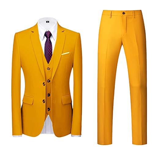 Traje de 3 Piezas con Chaqueta Chaqueta Chaleco pantalón Hombres Traje de Fiesta de Boda de Negocios Style Traje Ceñido para Hombre(Saco+Chaleco+Pantalones