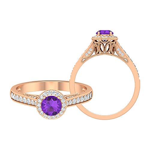 Anillo de halo solitario, anillo de amatista de 5 mm, anillo de diamante HI-SI, anillo vintage de piedra lateral, anillo de compromiso con ajuste de corona, oro de 10 quilates morado