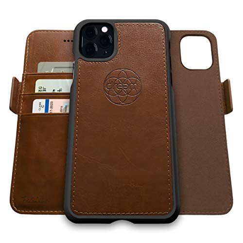Dreem Fibonacci 2-in-1 Wallet-Case for Apple iPhone 12 Mini - Luxury Vegan Leather, Magnetic Detachable Shockproof Phone Case, RFID Card Protection, 2-Way Flip Stand - Chocolate