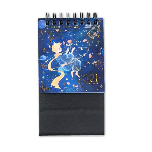 CLSMYLFB Calendario 2021 de 11,5 x 8 cm, color azul 2021 Mini calendario de papel de escritorio, planificador diario de mesa, organizador de accesorios