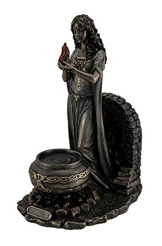Resin Statues Brigid Goddess of Hearth & Home Standing Holding Sacred Flame Statue 7 X 9.5 X 5.5 Inches Bronze