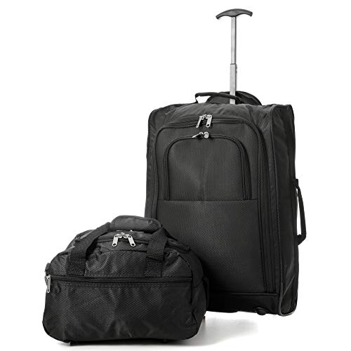 Ryanair Cabin Approved 55x40x20cm & Second 35x20x20 Hand Luggage Set - Carry On Both! (TB BLK + HOLD605)