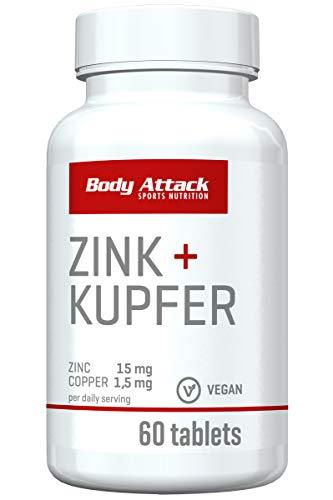 Body Attack Zink + Kupfer, hochdosierte Tabletten, vegan (60 Kapseln)